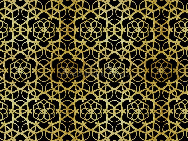 Oriental pattern gold color, illustration. Flower Mandala. Vintage decorative elements. Ornament. Isolated on a black background stock illustration