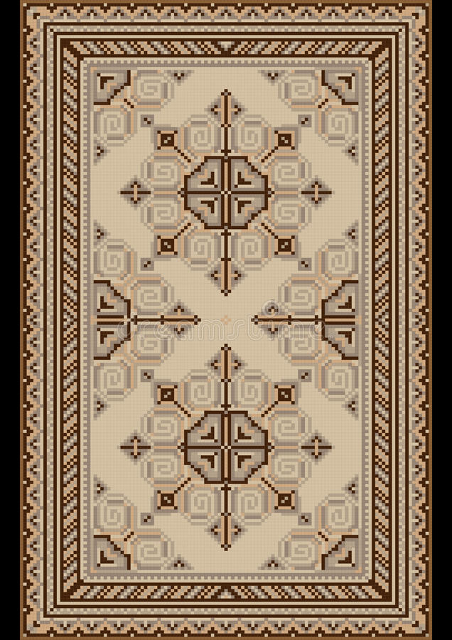 Download Oriental Pattern For Light Carpetwith Beige And Brown Shades Stock Vector - Illustration: 31288234