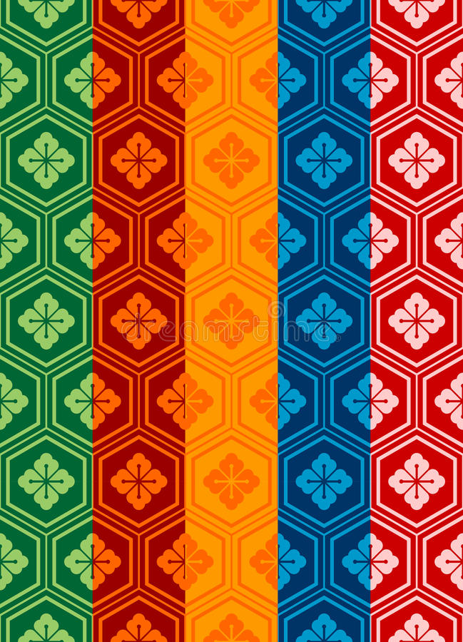 Oriental Pattern. An oriental style pattern in five different colors/style. Final panel of each color left ungrouped as a single swatch, and can easily be used stock illustration