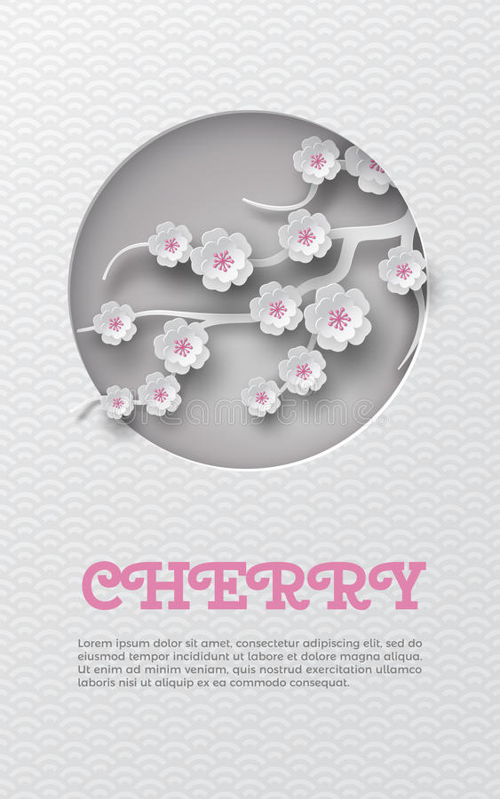 Oriental pattern vertical banner with cut out round frame and floral background with white-pink cherry flowers decoration on the l royalty free illustration
