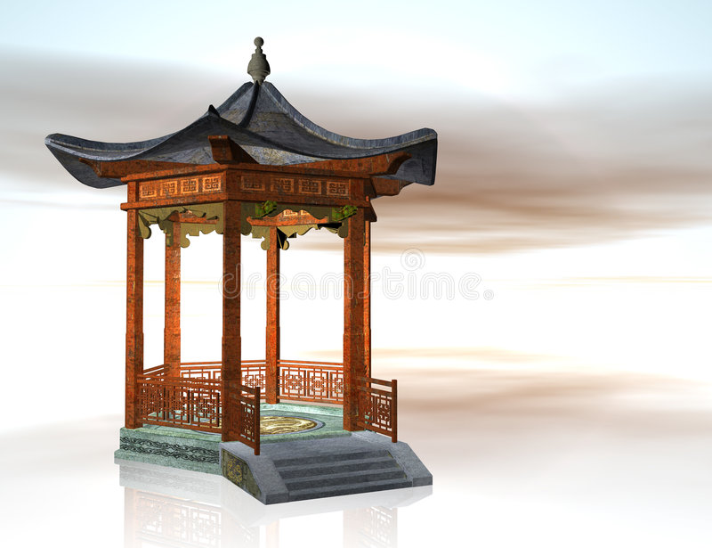Oriental pavilion vector illustration