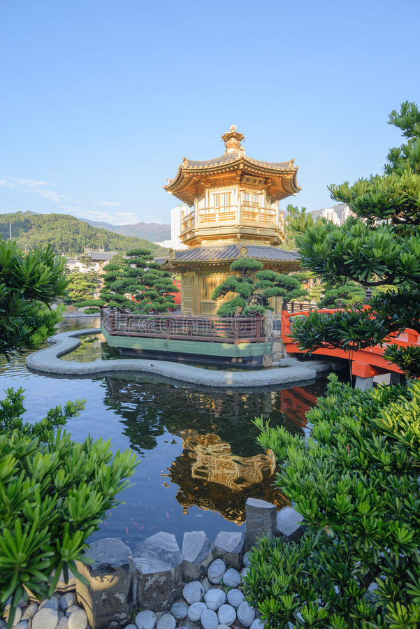 The oriental pavilion of absolute perfection in Nan Lian Garden, Chi Lin Nunnery. Hong Kong royalty free stock photos