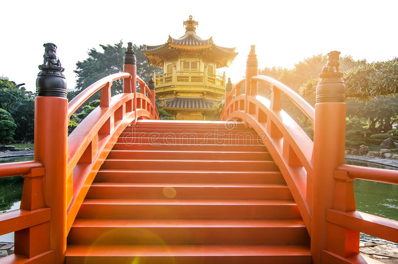 The oriental pavilion of absolute perfection in Nan Lian Garden, Chi Lin Nunnery, Hong Kong. The name of the tower means royalty free stock image