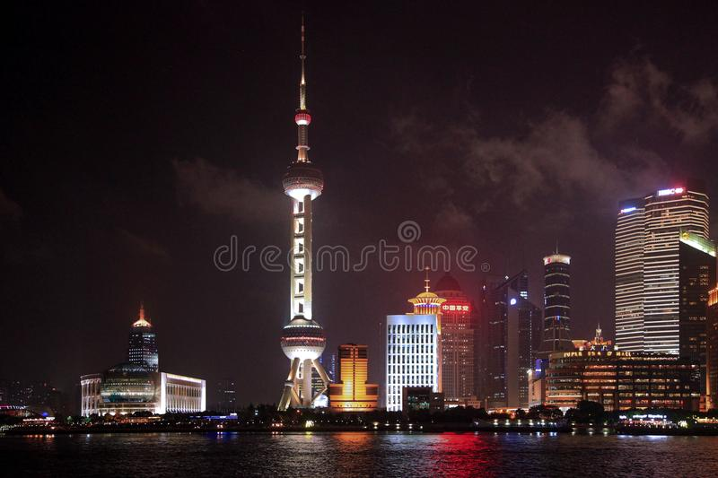 Oriental Pearl during Night Time stock photos