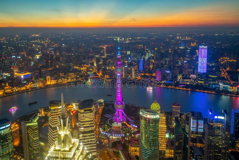 Aerial view of shanghai by the sunset in china royalty free stock photos