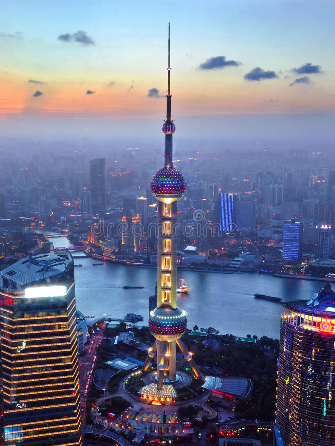 The oriental pearl radio & TV Tower. A sunset with the oriental pearl radio & TV Tower royalty free stock photos