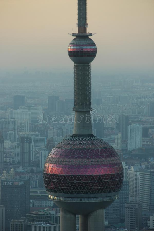 Oriental Pearl T.V. Tower. The Oriental Pearl T.V. Tower in the Pudong district of Shanghai, China royalty free stock photo