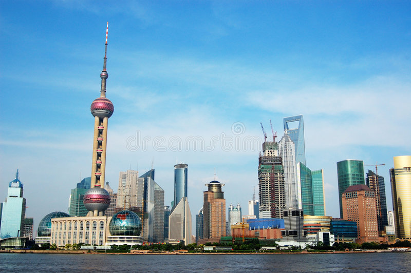 The Oriental Pearl Tower. Is a symbol of Shanghai royalty free stock photos