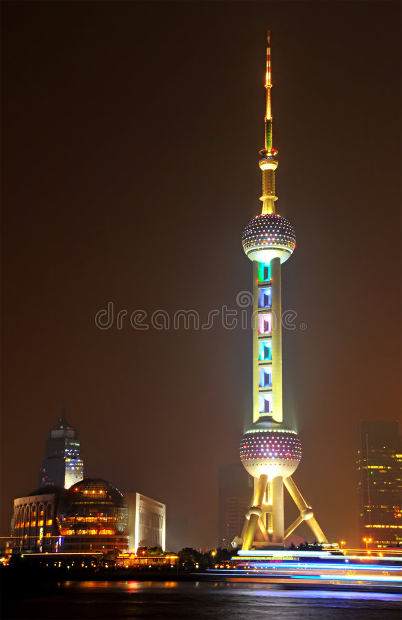 Oriental Pearl Tower. The Oriental Pearl Tower at night in Shanghai, China stock photo