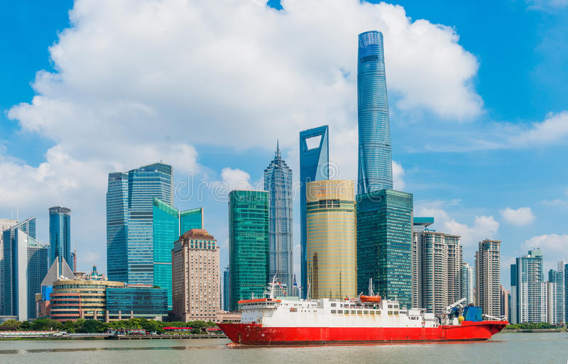 Oriental Pearl Tower on blue sky background. Tower 470 meter the Oriental Pearl is one of Shanghai's tallest buildings, at Lujiazui finance and trade zone in stock images