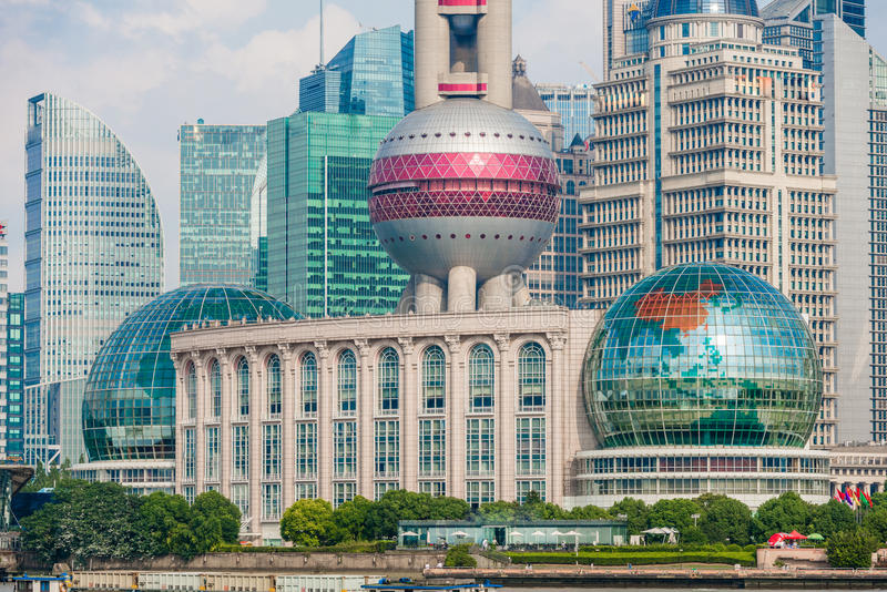 Oriental Pearl Tower on blue sky background. Tower 470 meter the Oriental Pearl is one of Shanghai's tallest buildings, at Lujiazui finance and trade zone in royalty free stock image