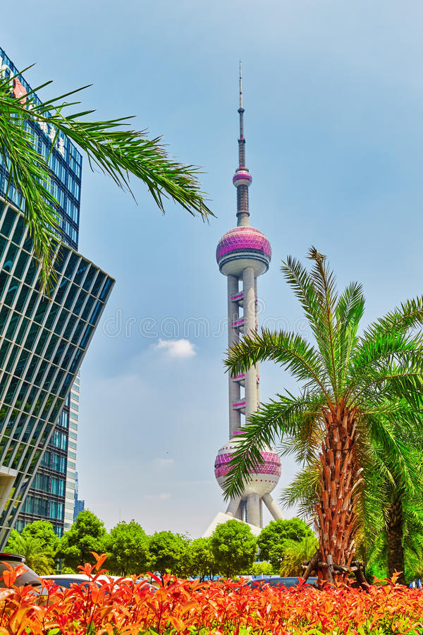 Oriental Pearl Tower on blue sky. SHANGHAI, CHINA- MAY 24, 2015: Oriental Pearl Tower on blue sky background. Tower 470 meter the Oriental Pearl is one of royalty free stock photo