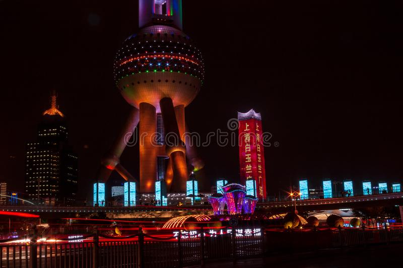 Oriental Pearl Tower and buildings in Pudong is modern district of Shanghai stock photo