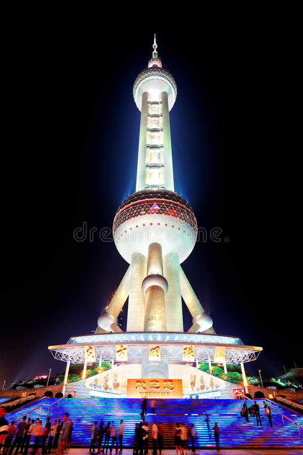 Oriental Pearl Tower closeup. SHANGHAI, CHINA - MAY 28: Oriental Pearl Tower closeup on May 28, 2012 in Shanghai, China. The tower was the tallest structure in royalty free stock photography