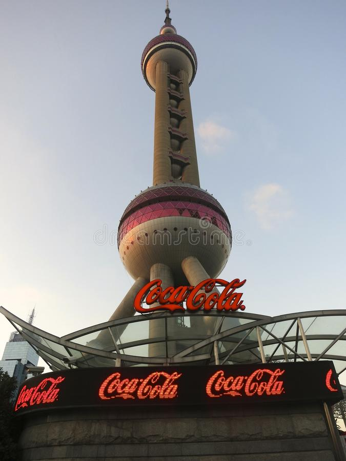 Oriental Pearl Tower with Coca Cola Logo stock image