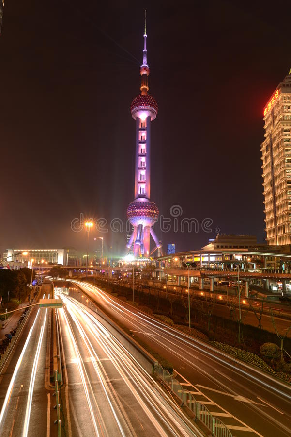 Oriental Pearl Tower at Night stock photography