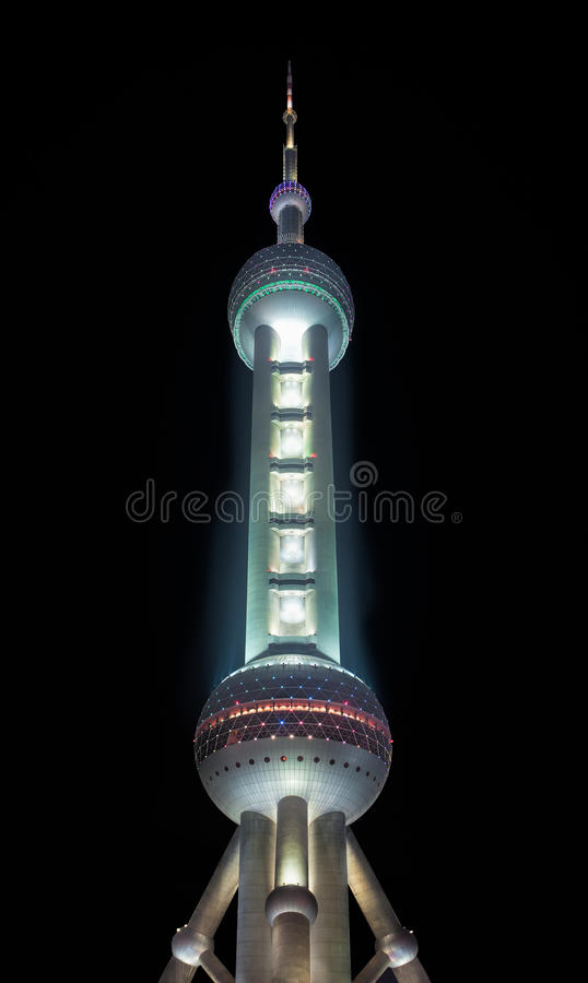 Oriental Pearl Tower at night, Shanghai, China stock photography