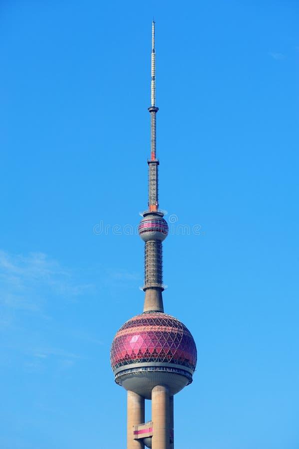 Oriental pearl tower in Shanghai. SHANGHAI, CHINA - MAY 27: Oriental Pearl Tower over river on May 27, 2012 in Shanghai, China. The tower was the tallest royalty free stock image