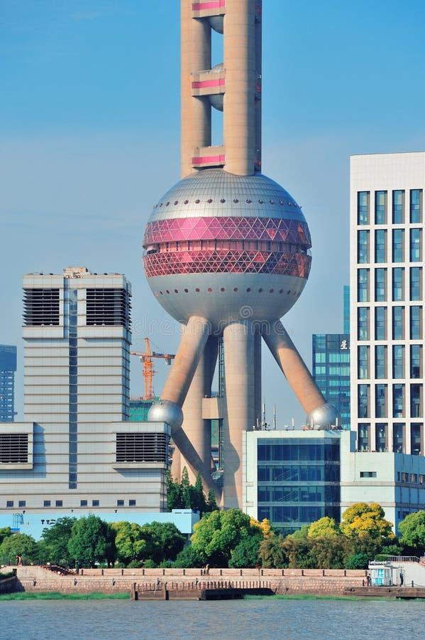 Oriental pearl tower in Shanghai. SHANGHAI, CHINA - MAY 27: Oriental Pearl Tower over river on May 27, 2012 in Shanghai, China. The tower was the tallest stock photo