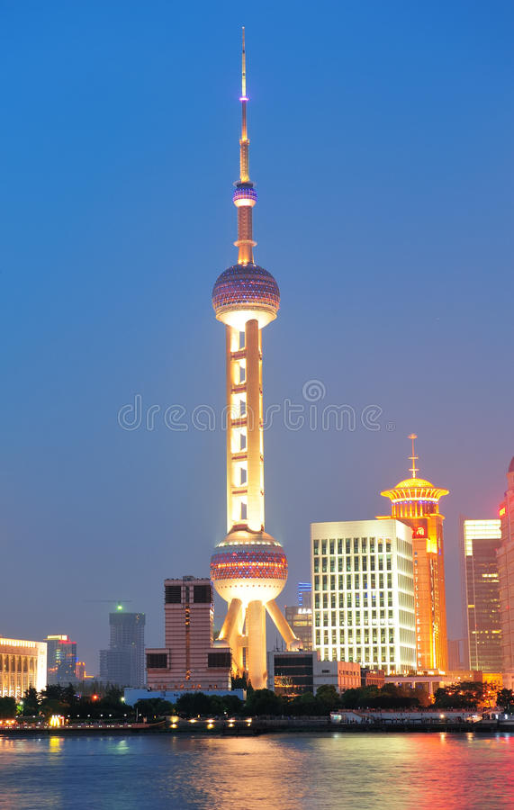 Oriental Pearl Tower. SHANGHAI, CHINA - JUNE 2: Oriental Pearl Tower over river on JUNE 2, 2012 in Shanghai, China. The tower was the tallest structure in China royalty free stock image