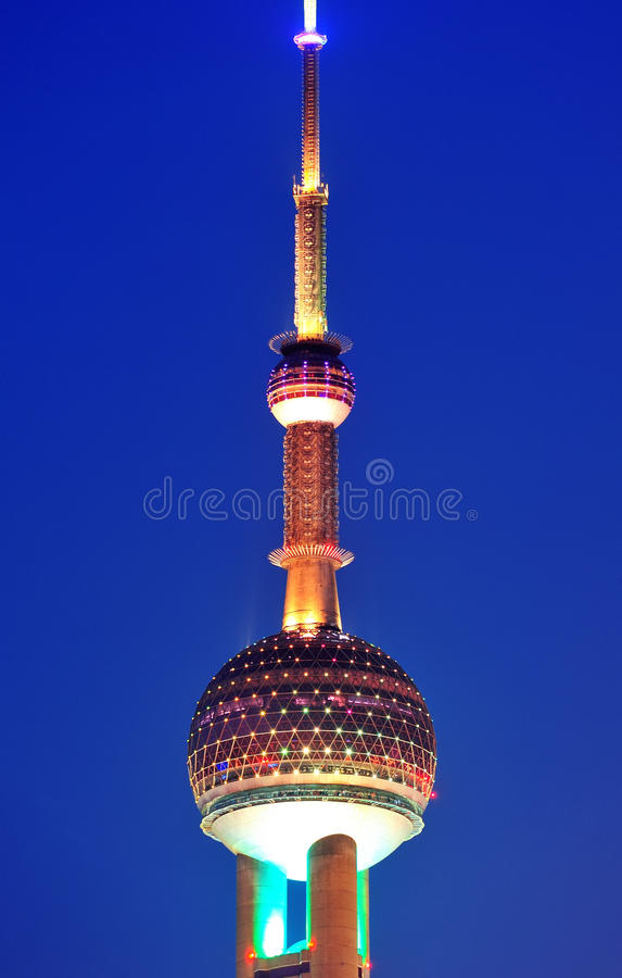 Oriental Pearl Tower. SHANGHAI, CHINA - JUNE 2: Oriental Pearl Tower over river on JUNE 2, 2012 in Shanghai, China. The tower was the tallest structure in China stock photo