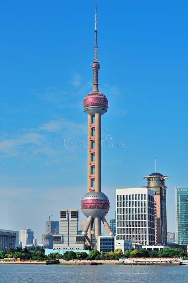 Oriental pearl tower in Shanghai. SHANGHAI, CHINA - MAY 27: Oriental Pearl Tower over river on May 27, 2012 in Shanghai, China. The tower was the tallest royalty free stock photos