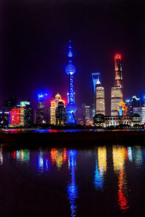 Oriental Pearl TV Tower Pudong Bund Huangpu River Shanghai China. Looking Down Oriental Pearl TV Tower Pudong Bund Huangpu River Skyscrapers Cityscape Shanghai royalty free stock photos