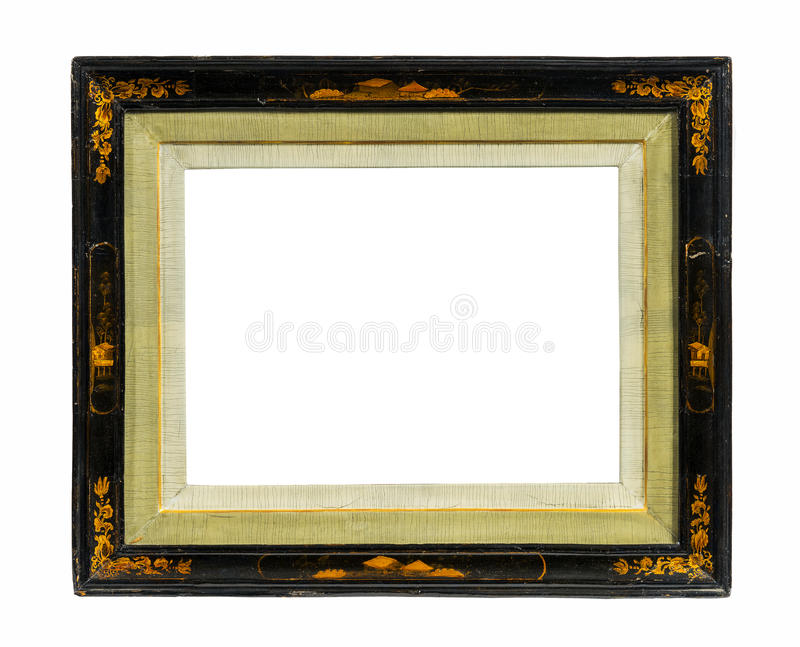 Oriental picture frame old antique lacquer and gold isolated on royalty free stock image