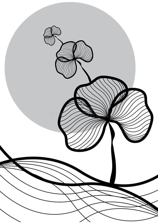 Oriental plant black on white