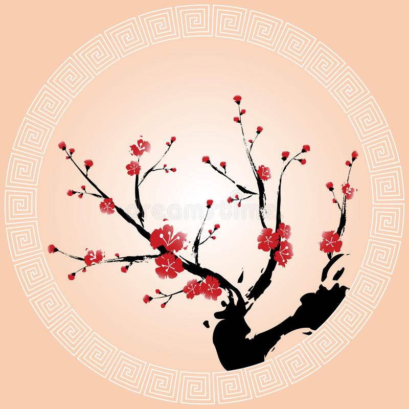 Oriental Plum Blossom Wallpaper Royalty Free Stock Photo