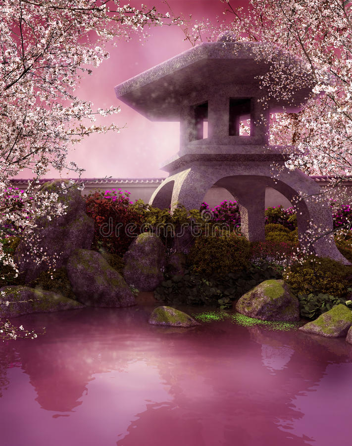 Oriental pond. With a stone lantern royalty free illustration