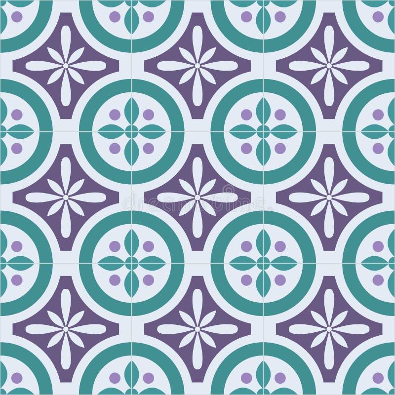 Oriental portugués adornado tradicional teja el modelo inconsútil de los azulejos Ilustración del vector stock de ilustración