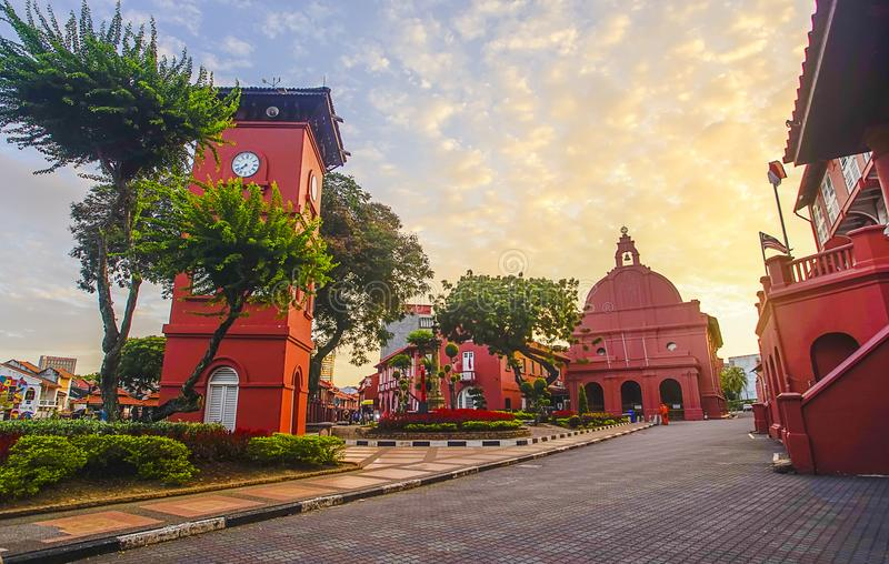 The oriental red building in Melaka, Malacca, Malaysia. Soft foc. Us and noise slightly appear due to high iso stock photos