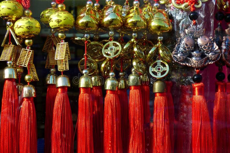 Oriental red tassels royalty free stock images