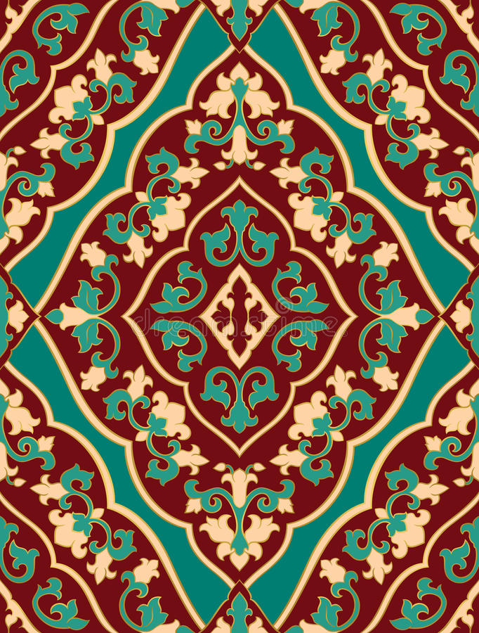 Oriental red and turquoise ornament. stock illustration