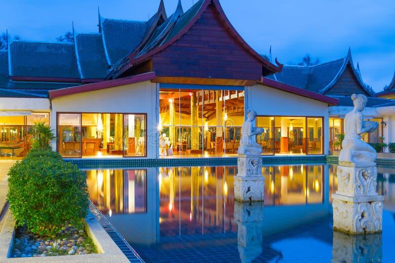 Oriental resort architecture at night