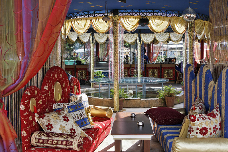 Oriental restaurant terrace royalty free stock images