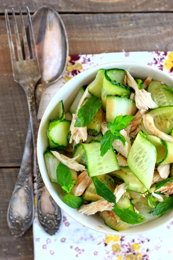 Oriental salad with cucumber and chicken royalty free stock photos