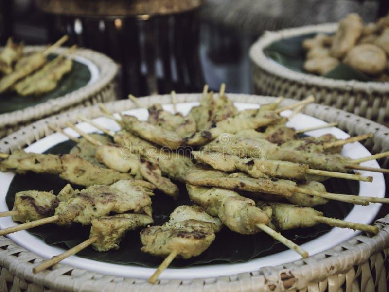 Oriental Satay chicken sticks, classical thai food royalty free stock photography