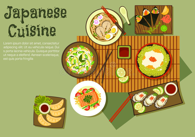 Oriental seafood dishes of japanese cuisine icon royalty free illustration