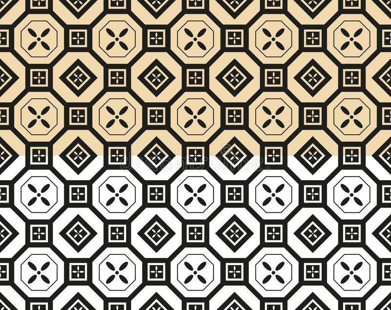 Oriental seamless pattern background set. Asian traditional geometric floral ornament. With chinese circle tracery and japanese curve line pattern for wrapping vector illustration
