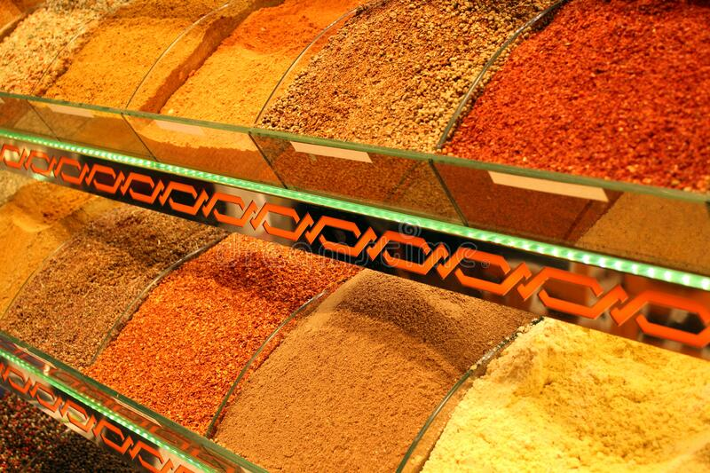 Oriental Spices in a shop in Istanbul,Turkey stock photos