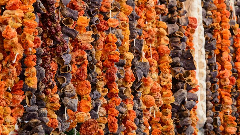 Oriental spices sun dried vegetables at Turkish grocery market royalty free stock photography