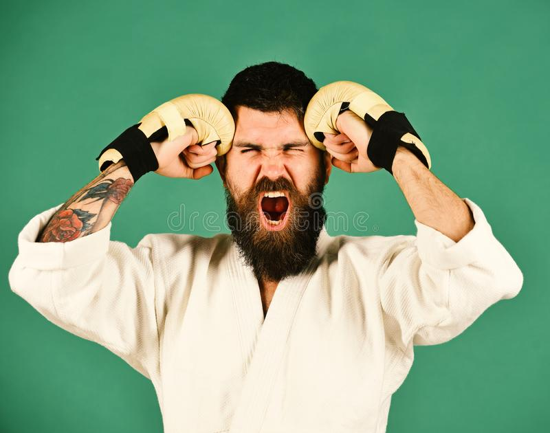 Oriental sports concept. Karate man with mad face in uniform. And golden boxing gloves. Man with beard in white kimono on green background. Combat master yells stock photo