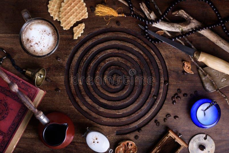 Oriental style breakfast ingredients, morning coffee vintage sty stock photography