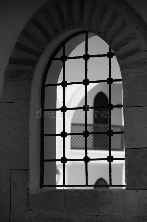 Oriental style buildings window in black and white stock photo
