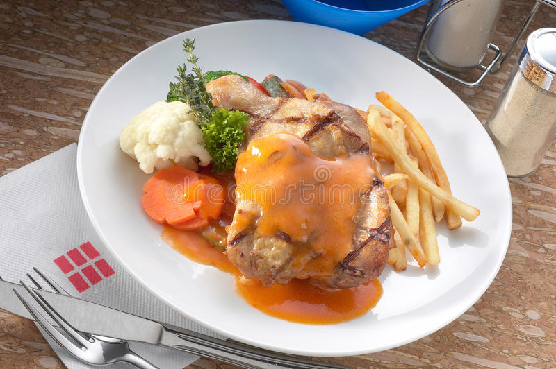 Oriental style chicken chop stock photography