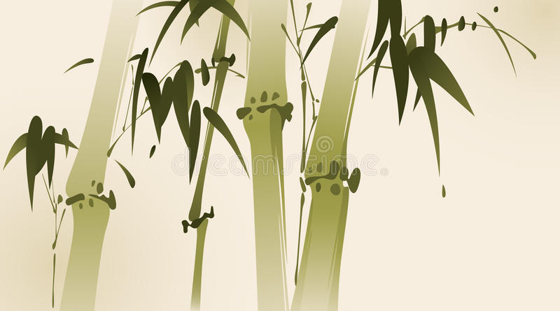 Oriental style painting, bamboo branches stock illustration