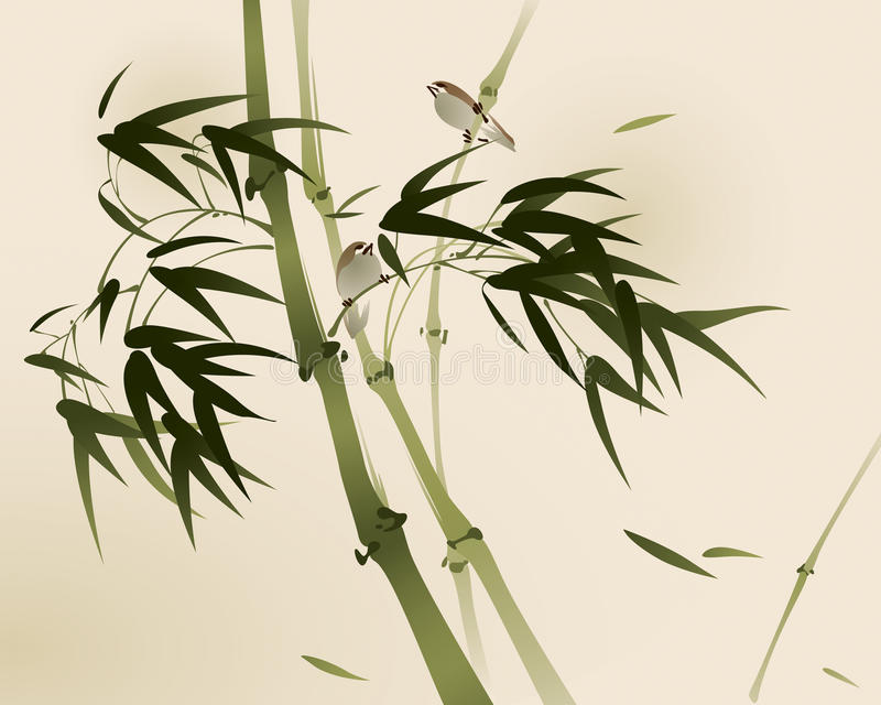 Oriental style painting, bamboo branches vector illustration