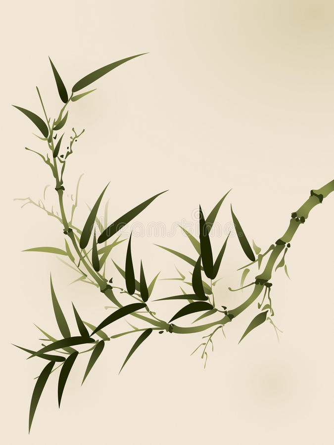 Oriental style painting, bamboo branches royalty free illustration